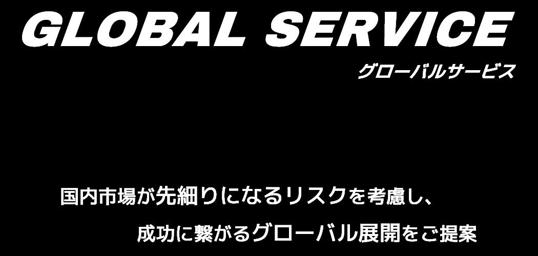 GLOBAL SERVICE グローバルサービス - 国内市場が先細りになるリスクを考慮し、成功に繋がるグローバル展開をご提案  -